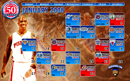 Detroit Pistons December 08 Schedule Wallpaper